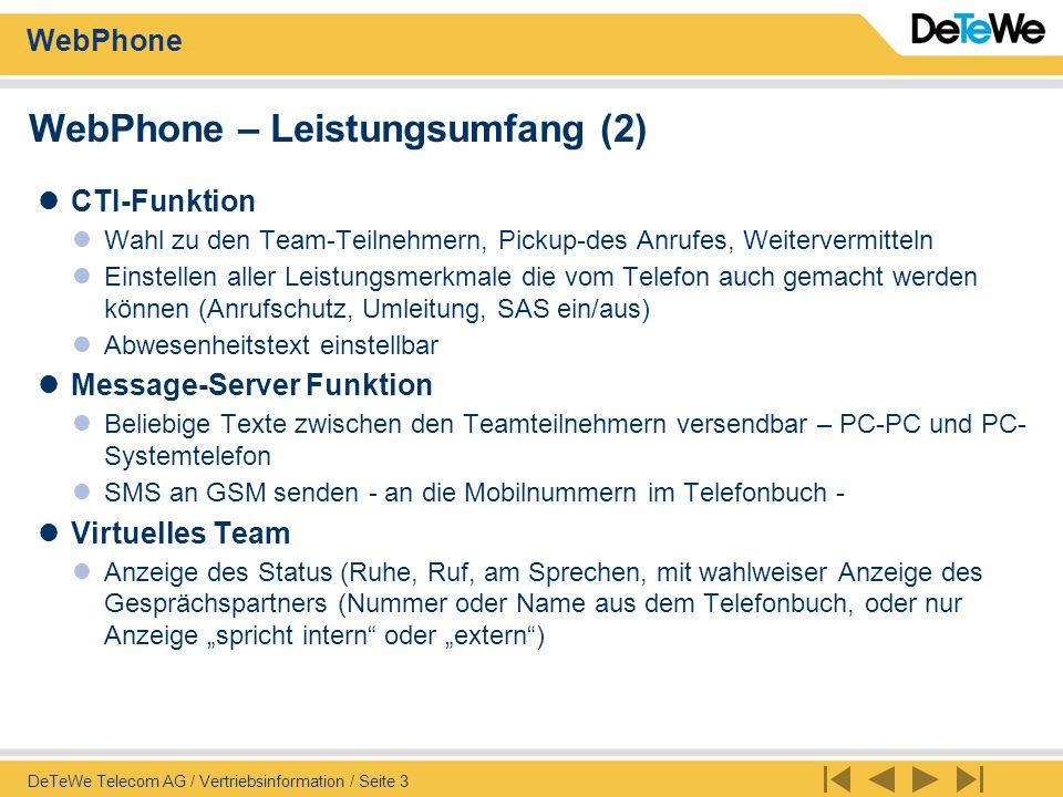 WebPhone – Leistungsumfang (2)