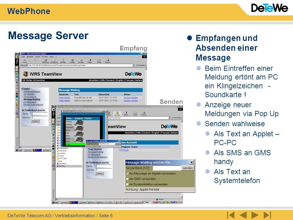 Message Server Empfangen und Absenden einer Message
