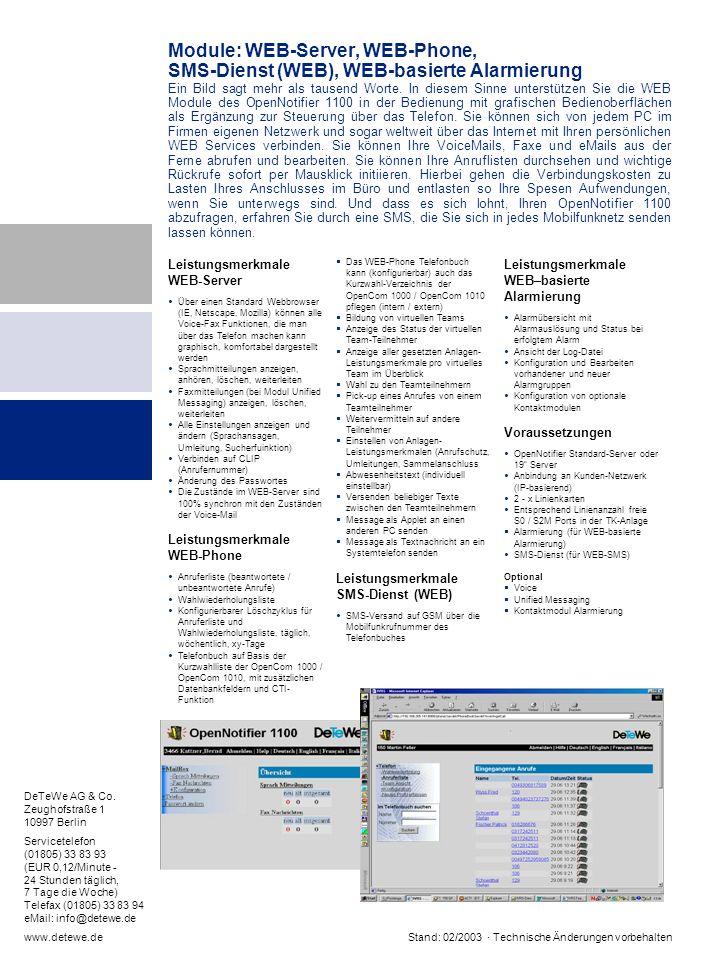Module: WEB-Server, WEB-Phone,