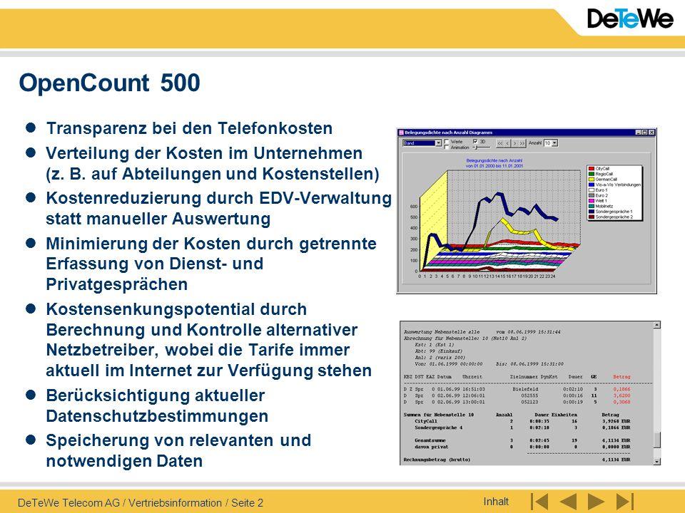 OpenCount 500 Transparenz bei den Telefonkosten