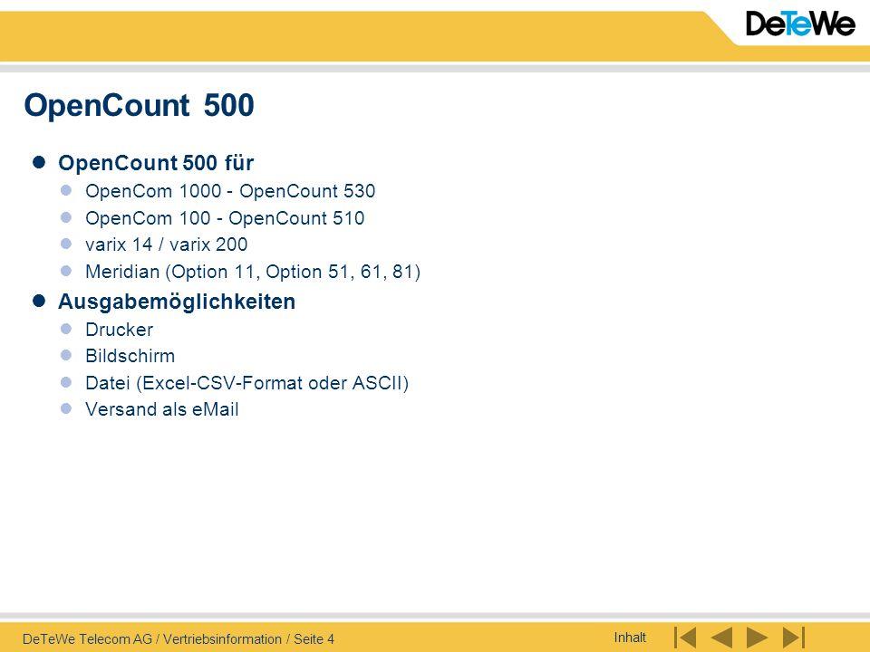 OpenCount 500 OpenCount 500 für Ausgabemöglichkeiten