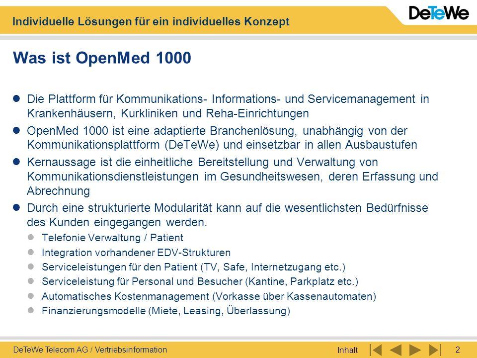 Was ist OpenMed 1000 Die Plattform für Kommunikations- Informations- und Servicemanagement in Krankenhäusern, Kurkliniken und Reha-Einrichtungen.