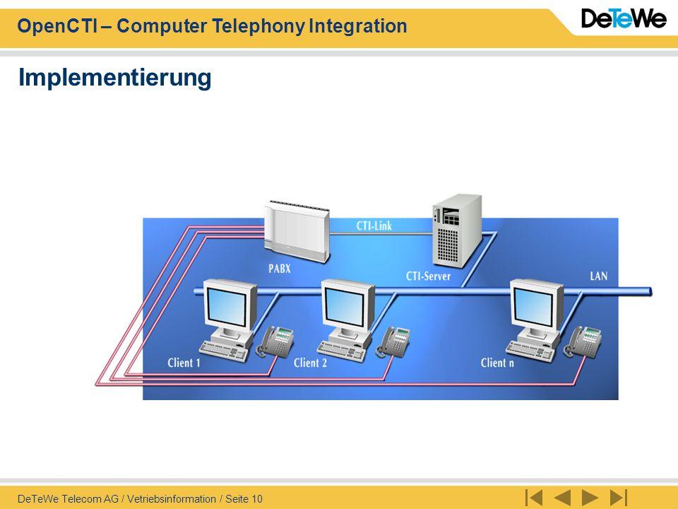 Implementierung DeTeWe Telecom AG / Vetriebsinformation / Seite 10