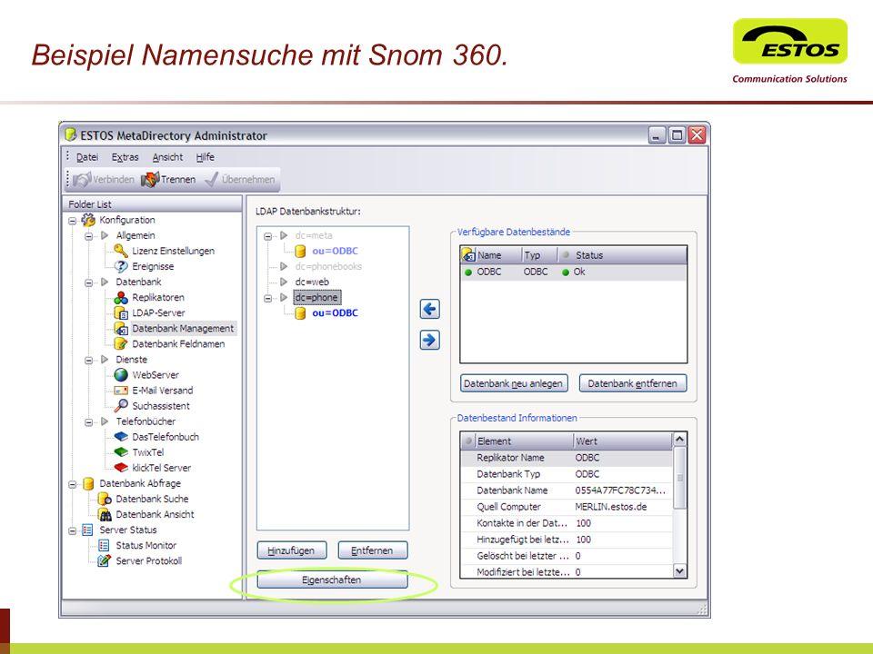 Beispiel Namensuche mit Snom 360.