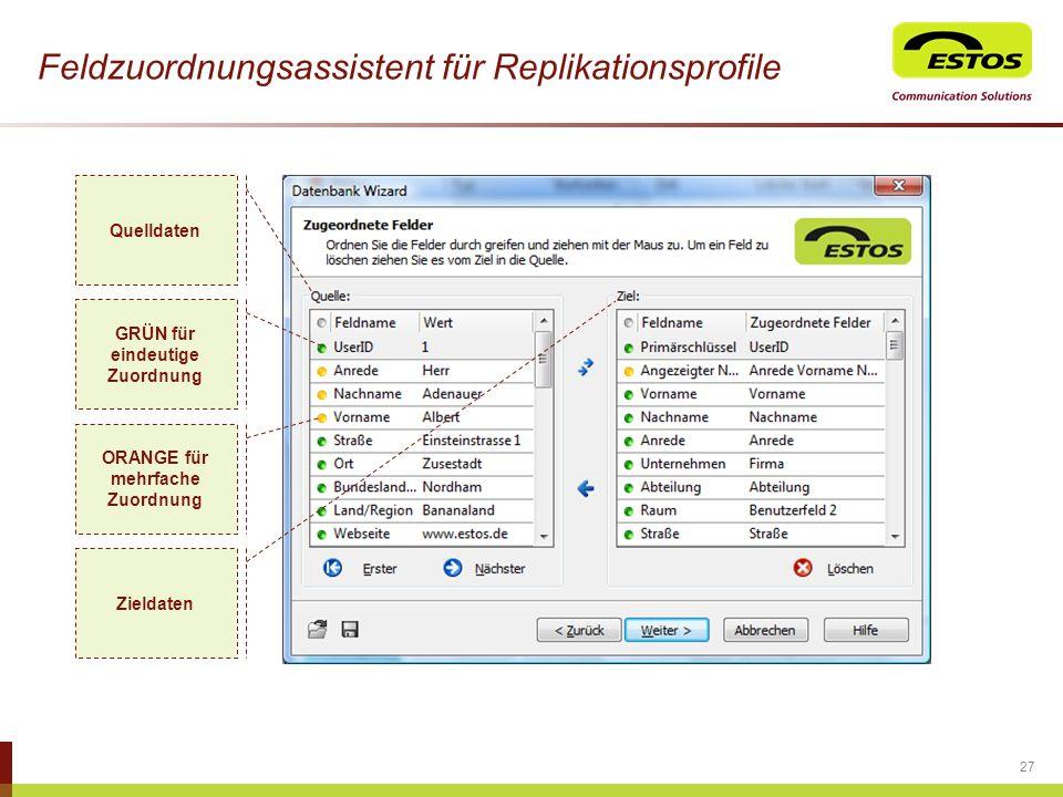 Feldzuordnungsassistent für Replikationsprofile