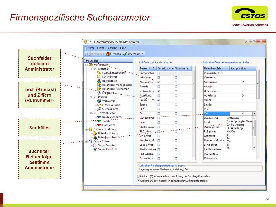 Firmenspezifische Suchparameter
