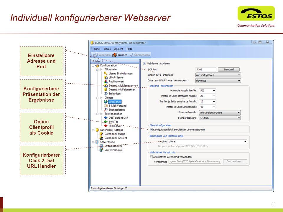 Individuell konfigurierbarer Webserver