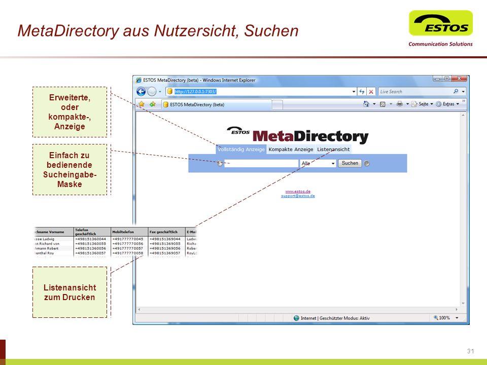 MetaDirectory aus Nutzersicht, Suchen