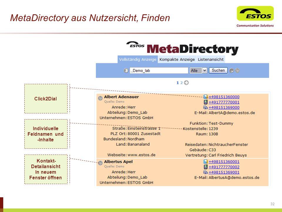 MetaDirectory aus Nutzersicht, Finden