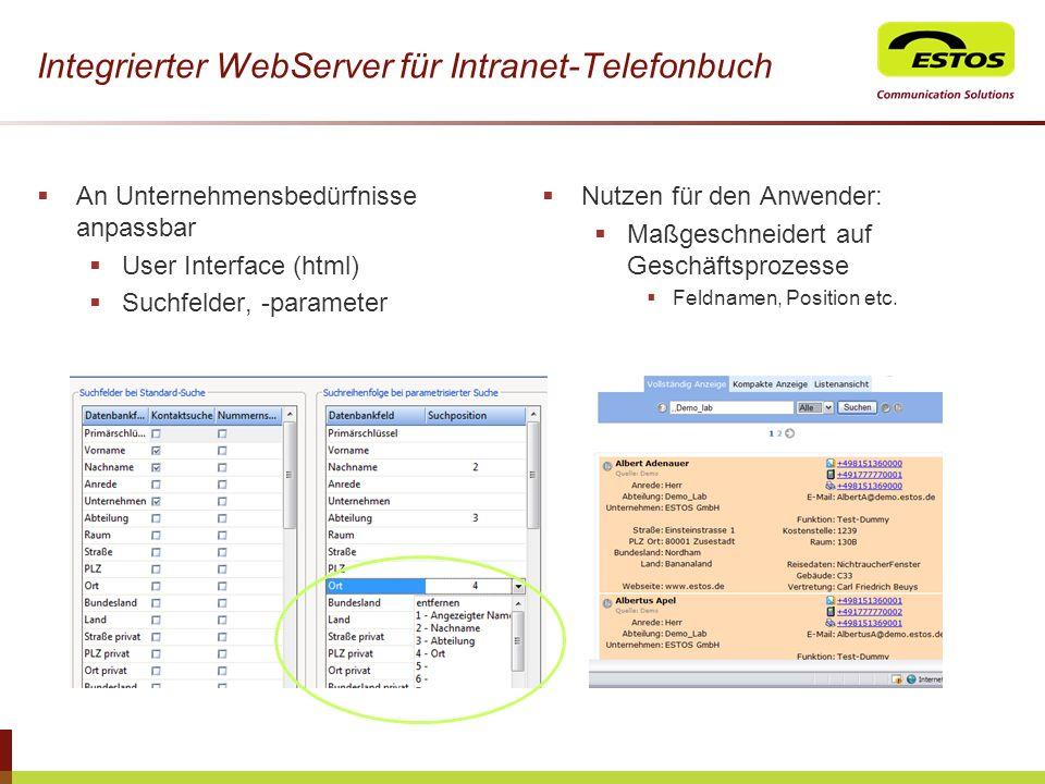 Integrierter WebServer für Intranet-Telefonbuch