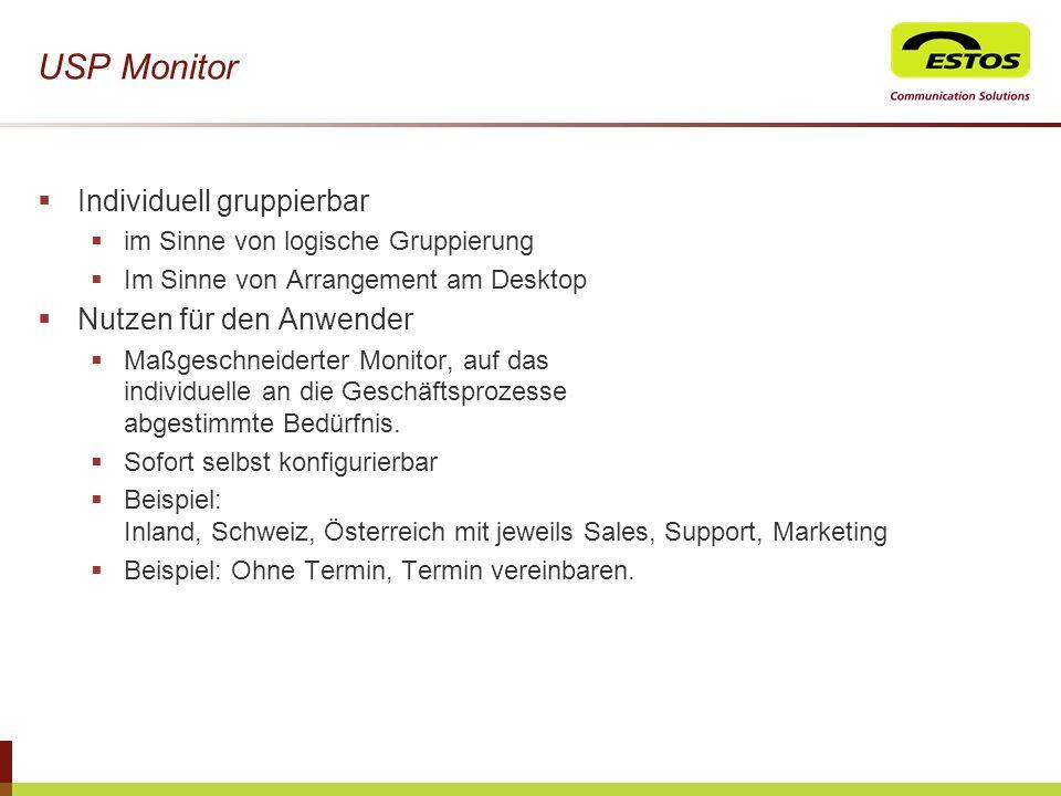 USP Monitor Individuell gruppierbar Nutzen für den Anwender