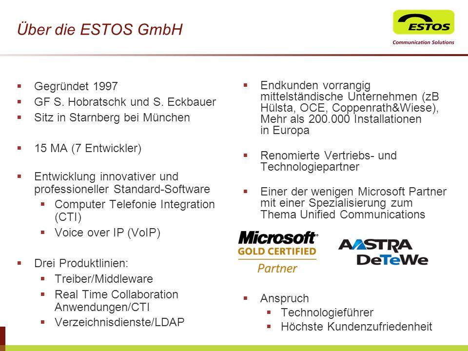 Über die ESTOS GmbH Gegründet 1997 GF S. Hobratschk und S. Eckbauer