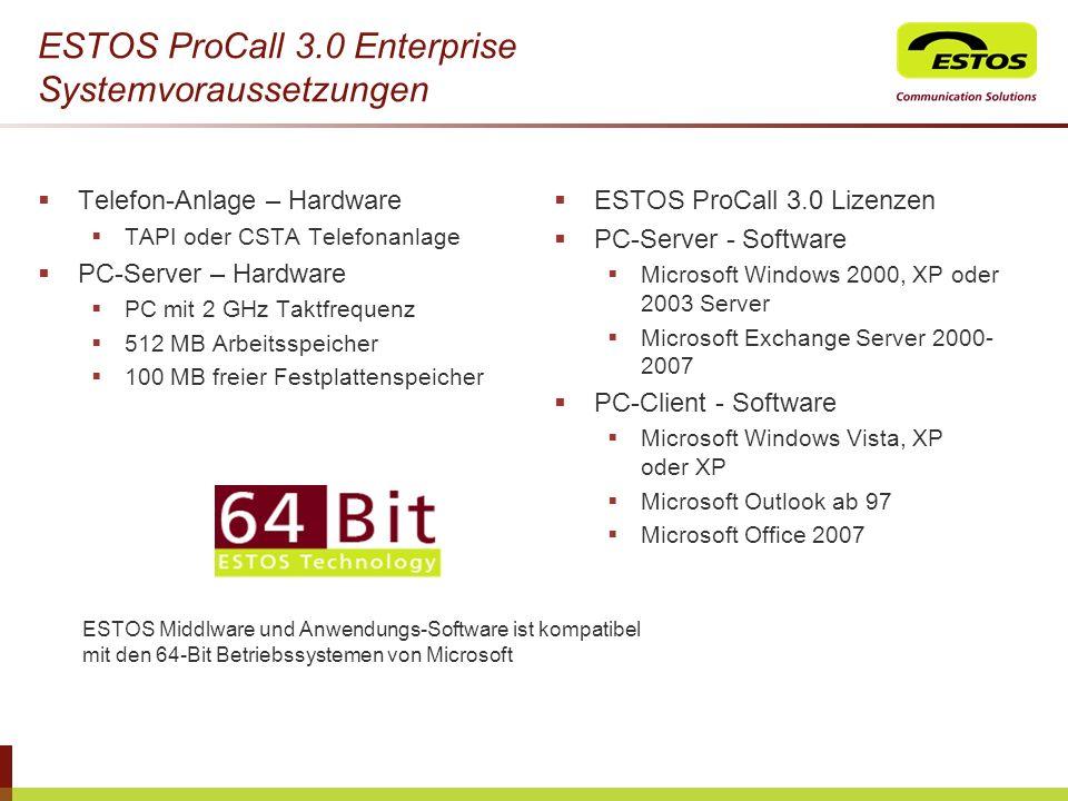ESTOS ProCall 3.0 Enterprise Systemvoraussetzungen