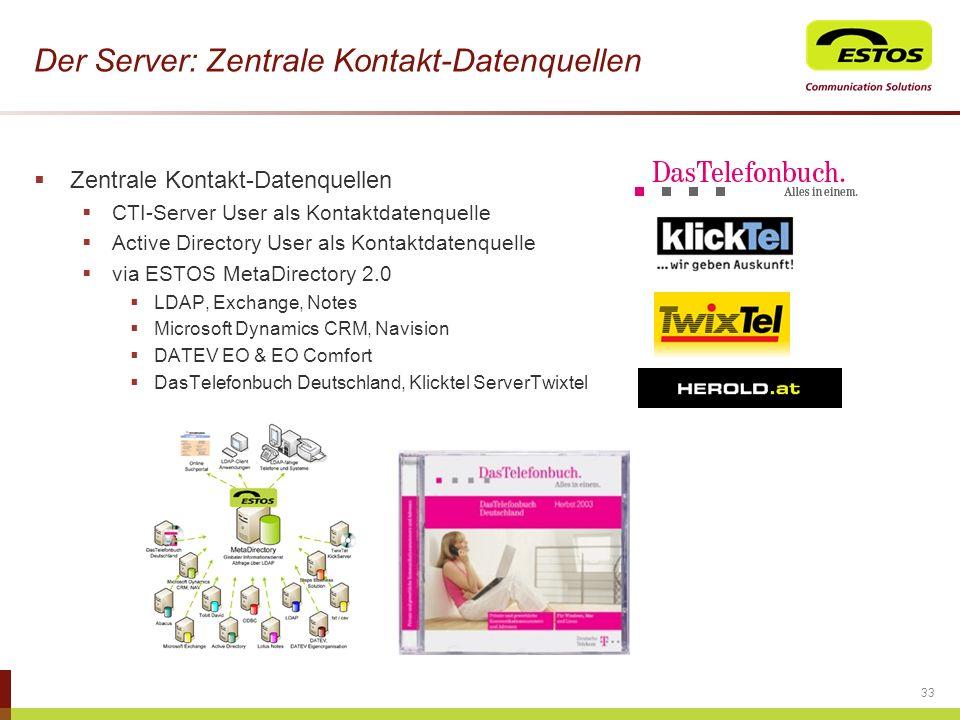 Der Server: Zentrale Kontakt-Datenquellen