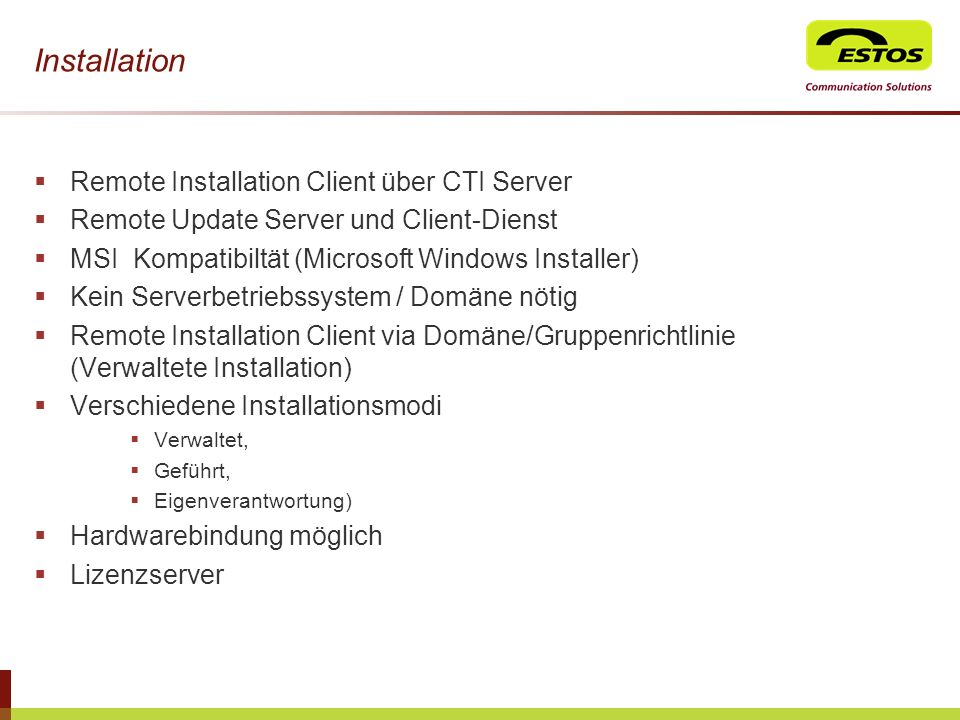 Installation Remote Installation Client über CTI Server