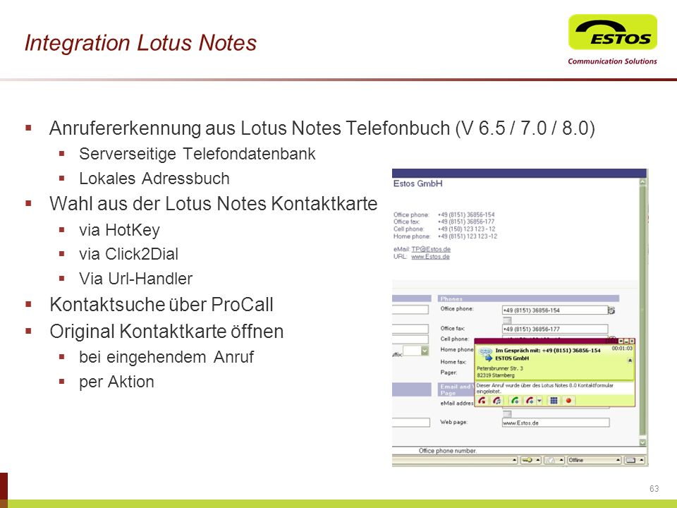 Integration Lotus Notes
