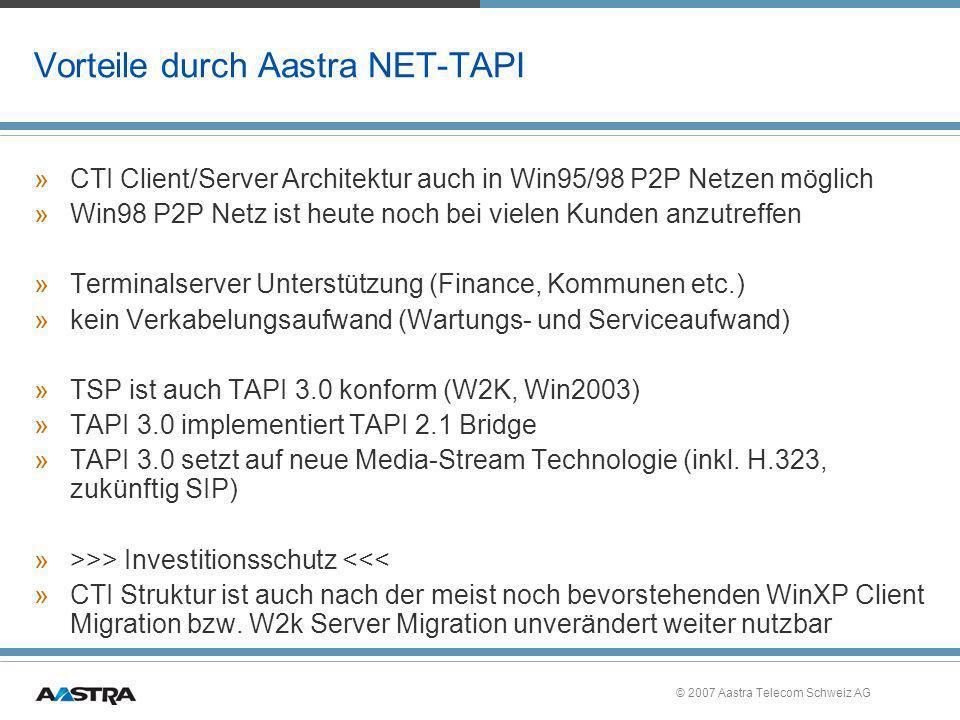 Vorteile durch Aastra NET-TAPI
