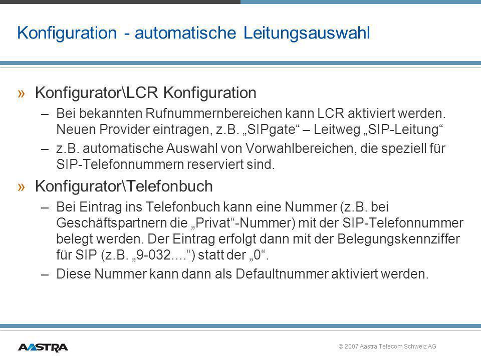 Konfiguration - automatische Leitungsauswahl