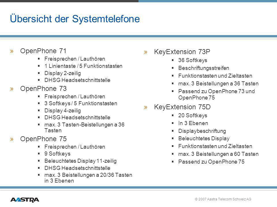 Übersicht der Systemtelefone