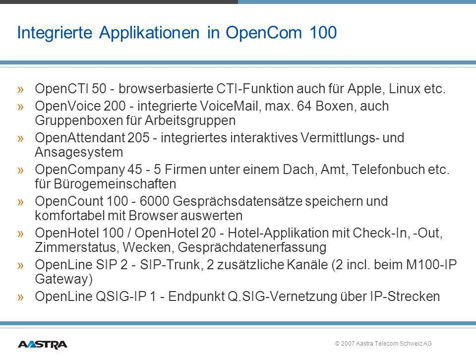 Integrierte Applikationen in OpenCom 100