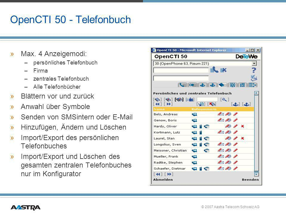 OpenCTI 50 - Telefonbuch Max. 4 Anzeigemodi: Blättern vor und zurück