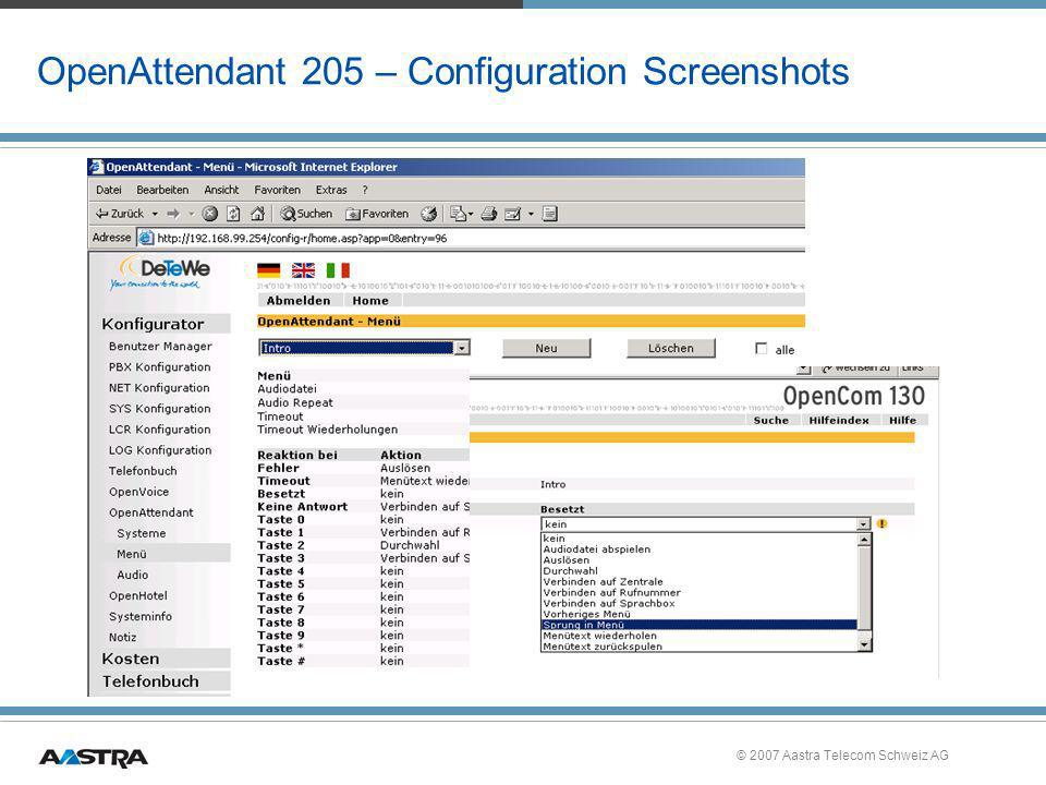 OpenAttendant 205 – Configuration Screenshots