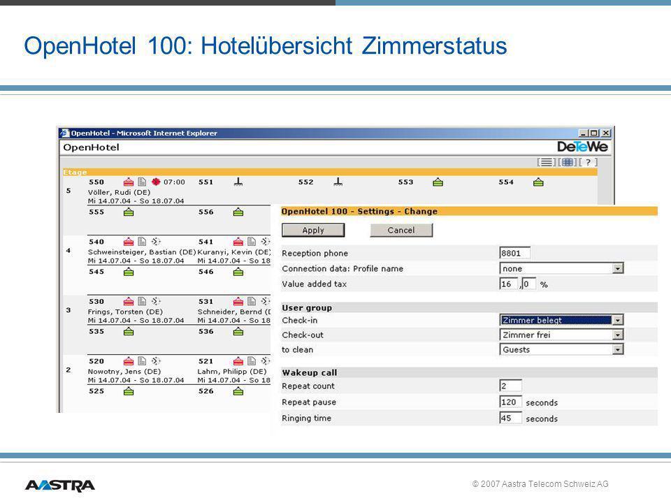 OpenHotel 100: Hotelübersicht Zimmerstatus