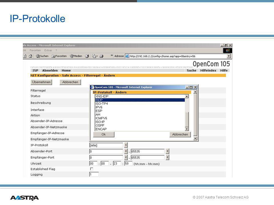 IP-Protokolle © 2007 Aastra Telecom Schweiz AG