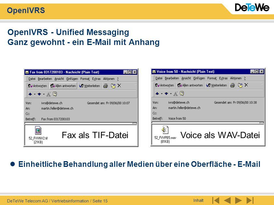 OpenIVRS - Unified Messaging Ganz gewohnt - ein E-Mail mit Anhang