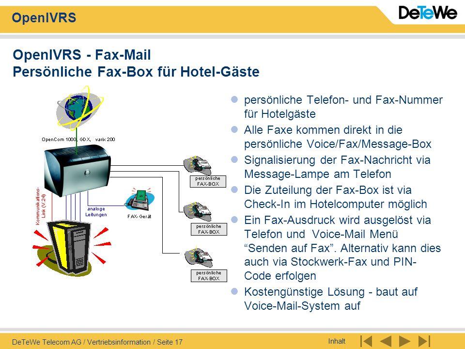 OpenIVRS - Fax-Mail Persönliche Fax-Box für Hotel-Gäste