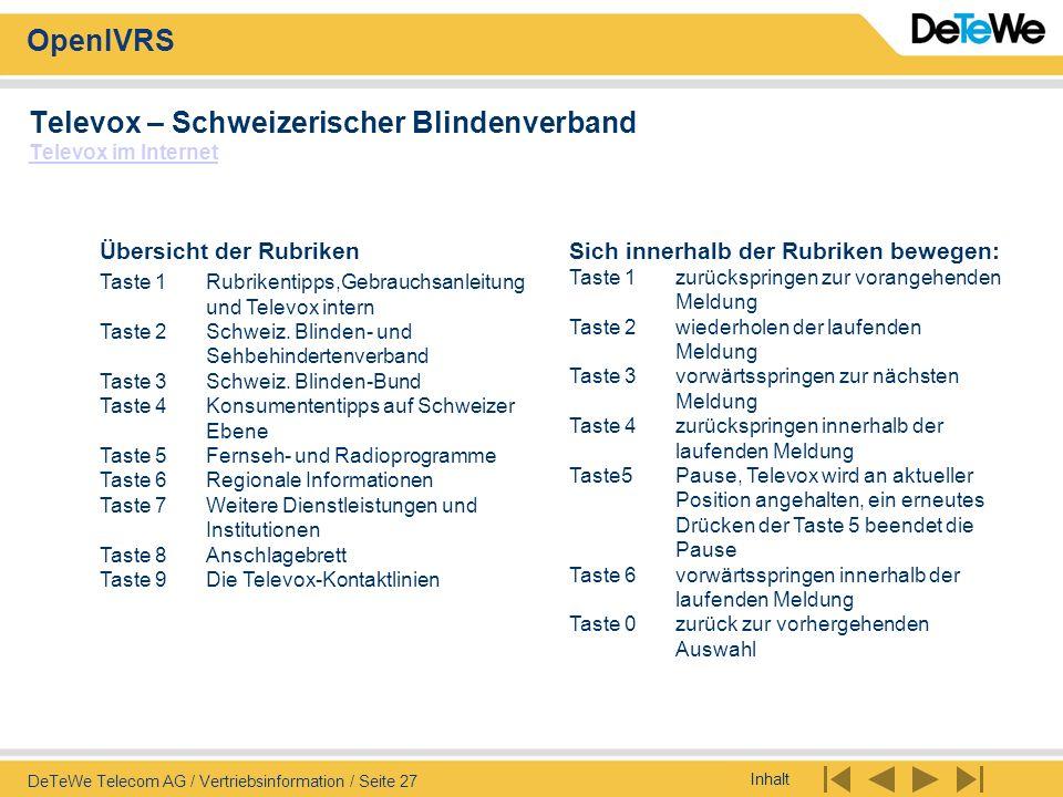 Televox – Schweizerischer Blindenverband Televox im Internet