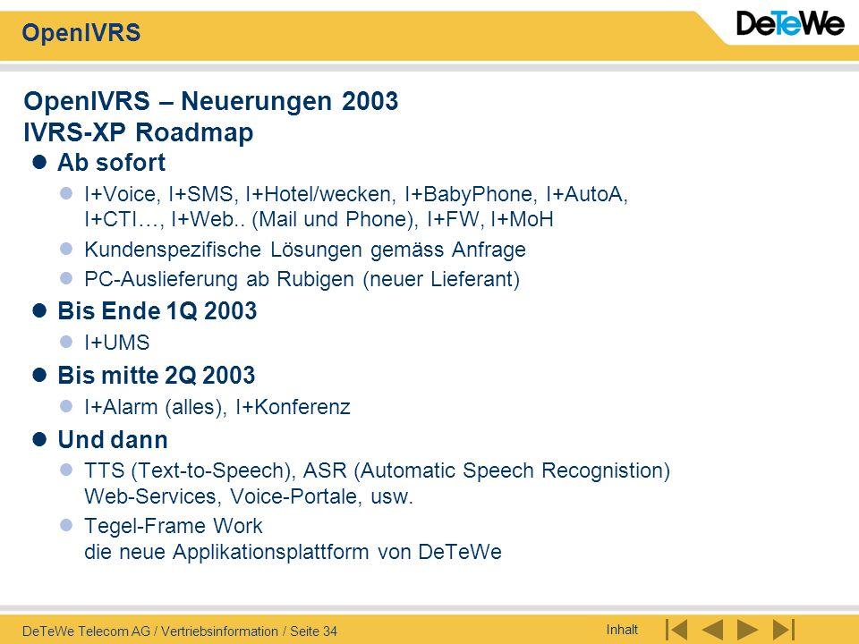 OpenIVRS – Neuerungen 2003 IVRS-XP Roadmap