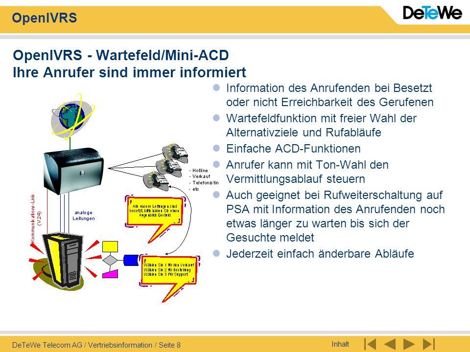 OpenIVRS - Wartefeld/Mini-ACD Ihre Anrufer sind immer informiert