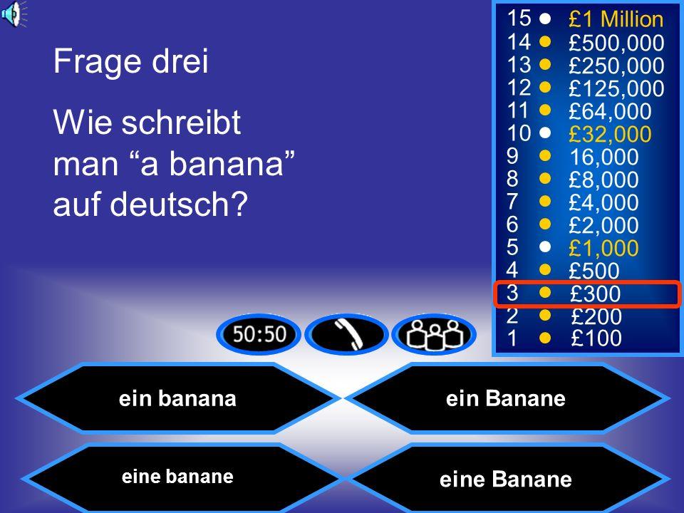 Wie schreibt man a banana auf deutsch