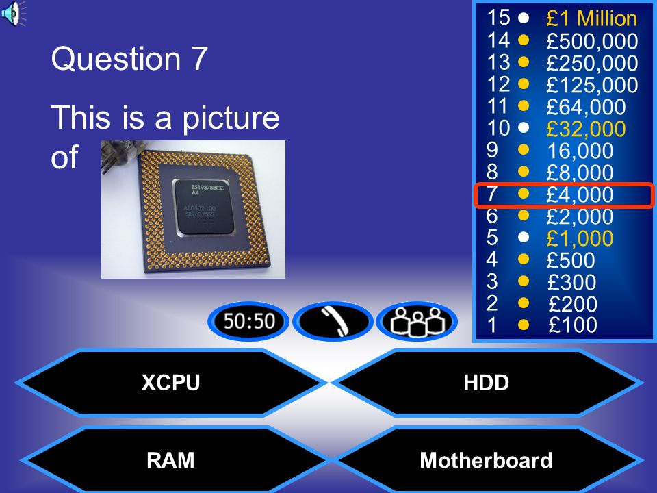 Question 7 This is a picture of XCPU HDD RAM Motherboard