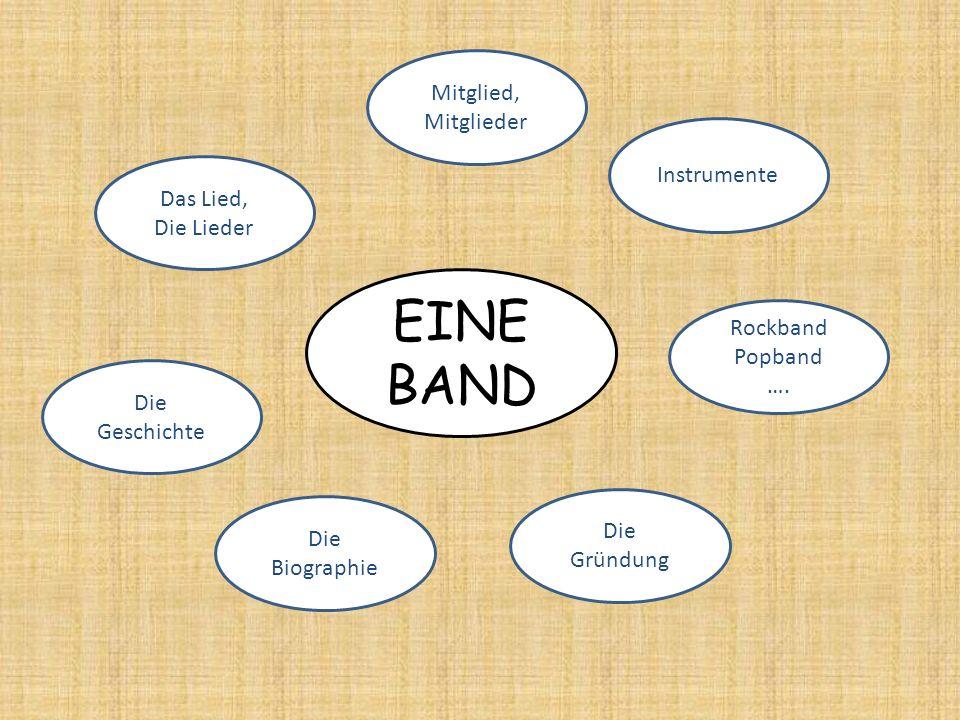 EINE BAND Mitglied, Mitglieder Instrumente Das Lied, Die Lieder