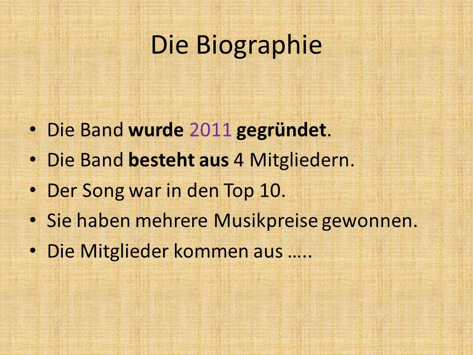 Die Biographie Die Band wurde 2011 gegründet.