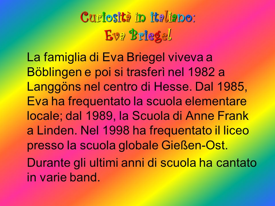 Curiosità in italiano: Eva Briegel