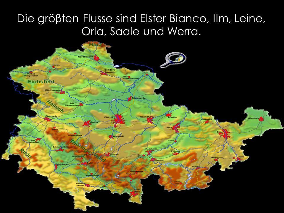 Die gröβten Flusse sind Elster Bianco, Ilm, Leine, Orla, Saale und Werra.