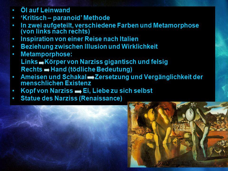 Öl auf Leinwand 'Kritisch – paranoid' Methode. In zwei aufgeteilt, verschiedene Farben und Metamorphose (von links nach rechts)