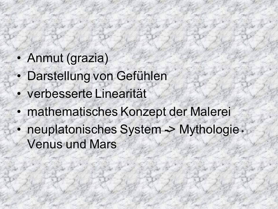 Anmut (grazia) Darstellung von Gefühlen. verbesserte Linearität. mathematisches Konzept der Malerei.