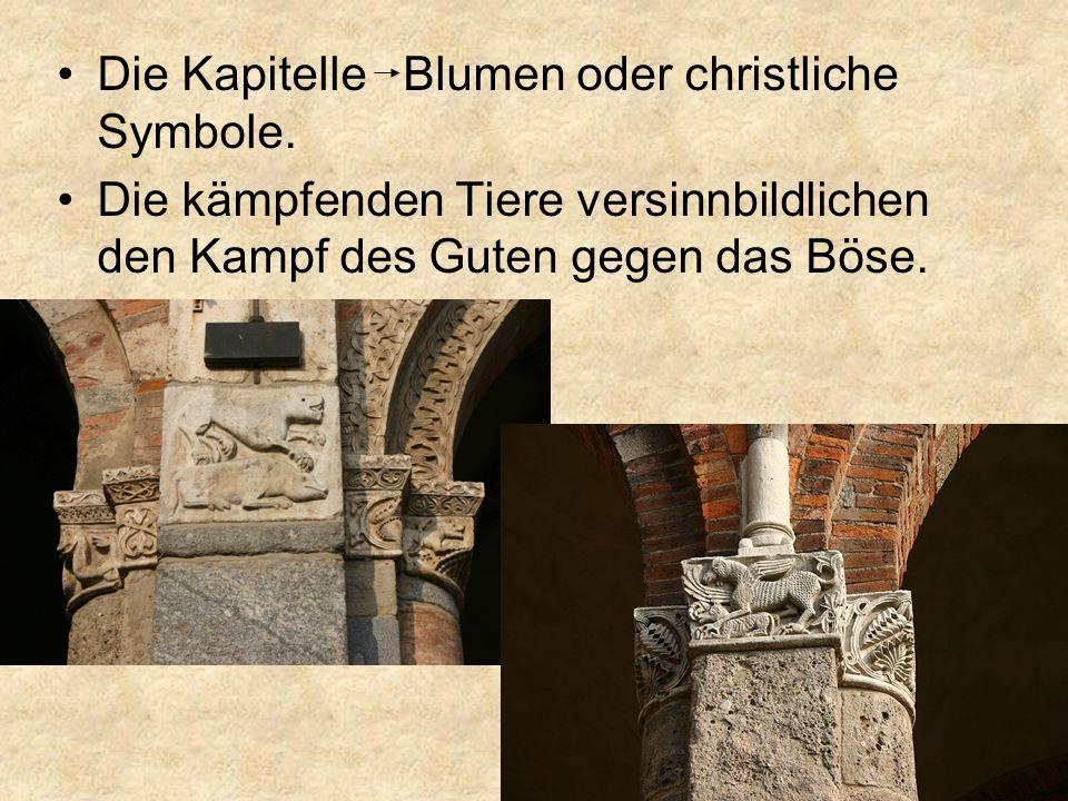 Die Kapitelle Blumen oder christliche Symbole.