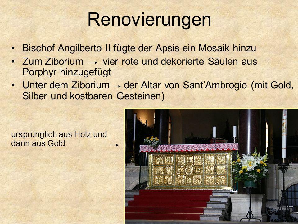Renovierungen Bischof Angilberto II fügte der Apsis ein Mosaik hinzu