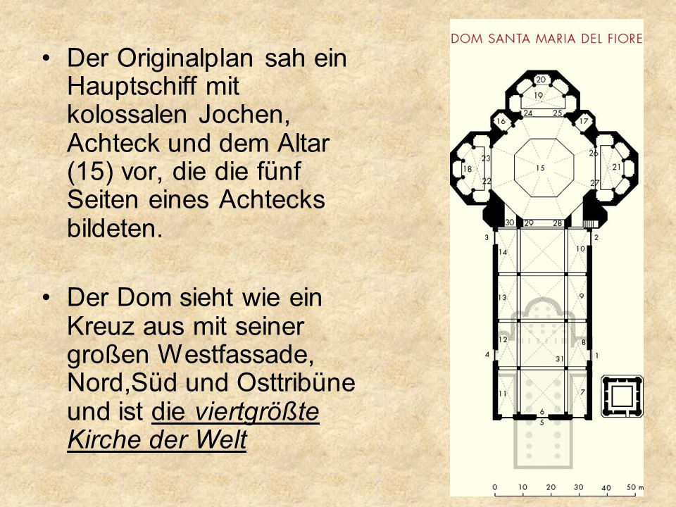 Der Originalplan sah ein Hauptschiff mit kolossalen Jochen, Achteck und dem Altar (15) vor, die die fünf Seiten eines Achtecks bildeten.