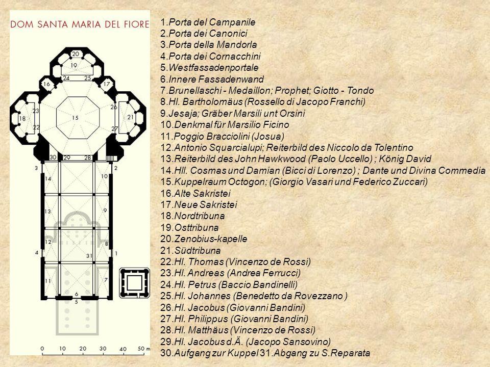 1.Porta del Campanile 2.Porta dei Canonici 3.Porta della Mandorla 4.Porta dei Cornacchini 5.Westfassadenportale