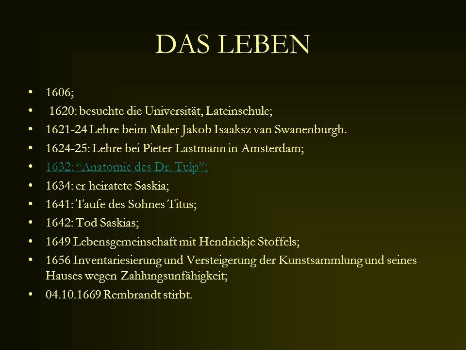 DAS LEBEN 1606; 1620: besuchte die Universität, Lateinschule;
