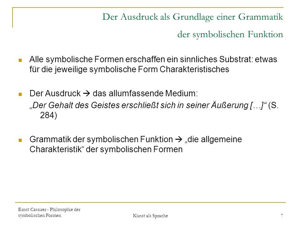 Der Ausdruck als Grundlage einer Grammatik der symbolischen Funktion