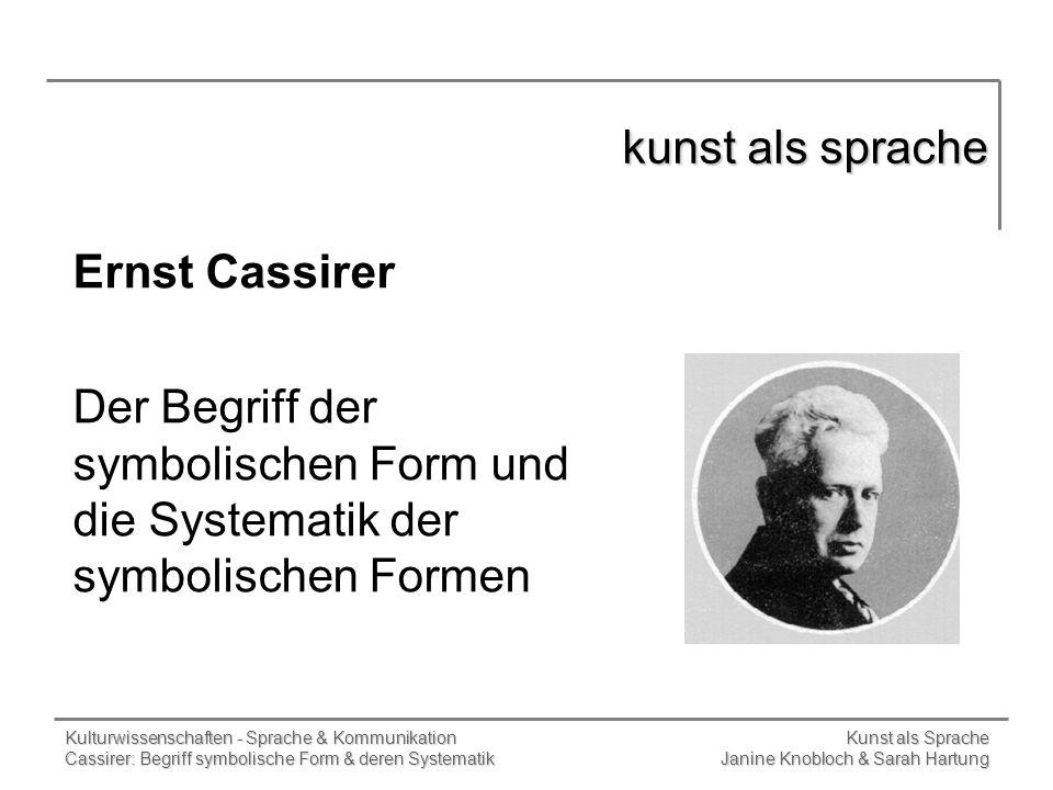 kunst als sprache Ernst Cassirer