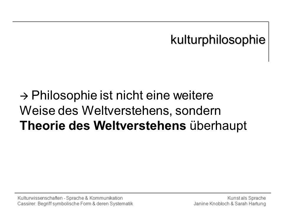 kulturphilosophie Philosophie ist nicht eine weitere Weise des Weltverstehens, sondern Theorie des Weltverstehens überhaupt.