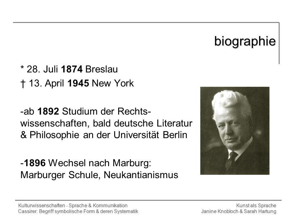 biographie * 28. Juli 1874 Breslau † 13. April 1945 New York